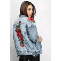 Blue Rose Embroidered Denim Jacket ($74) ❤ liked on Polyvore featuring outerwear, jackets, embellished jacket, layered jacket, embroidered jean jacket, blue denim jacket and embroidered jacket