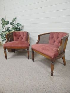 Vintage Mid Century Modern Walnut and Cane MAROON Club Lounge Chairs SOLD!