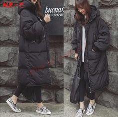 Korea Women Hooded Parkas Duck Down Long Loose Winter Warm Outdoor Coat Outwear