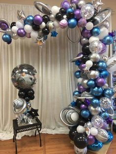 Get ready for galaxy party balloon decoration ideas that would leave your speechless. Filled with colors and a theme of galaxy balloon joyrides, you do not want to miss these ideas for your next galaxy-themed birthday party decorations. Birthday Balloon Decorations, Birthday Balloons, Birthday Parties, Decoration Party, Birthday Ideas, Balloon Garland, Balloon Arch, Galaxy Balloons, Space Baby Shower