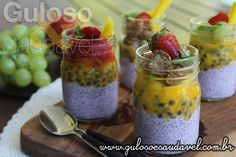 Receita de Overnight de Chia com Frutas                                                                                                                                                                                 Mais Vegan Overnight Oats, Pasta, Fruit Salad, Carne, Cantaloupe, Smoothies, Brunch, Frozen, Low Carb