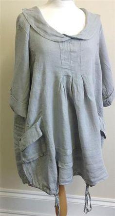 Lagenlook Clothing XXL Diverse Italian 100% Linen Cowl Neck Tunic Dress GREY | eBay