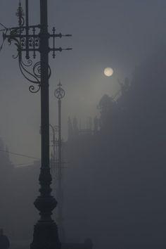 Foggy Street at Night.