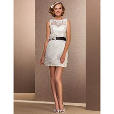+Sheath/Column+Bateau+Short/Mini+Lace+Wedding+Dress+–+USD+$+179.99