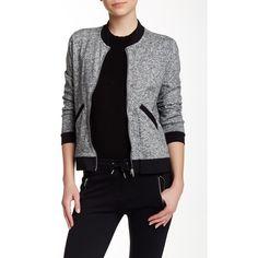 The Kooples Marled Knit Long Sleeve Jacket ($90) ❤ liked on Polyvore featuring outerwear, jackets, grey black, gray bomber jacket, the kooples, flight jacket, blouson jacket and knit jacket