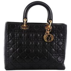 Christian Dior Lady Dior Handbag Cannage Quilt Lambskin Large | 1stdibs.com
