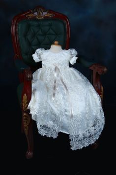Off White Exquisite Lace Overlay Christening Gown, Baptism Gown, 0-3 months, 3-6 months, 6-9 months, 9-12 months, 12-18 months, 18-24 months on Etsy, $85.00