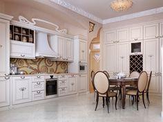 Şık Beyaz Avangard Klasik Mutfak Mobilyaları
