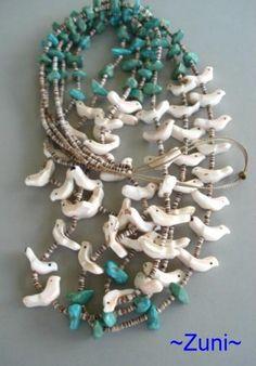 Vintage 1960s Native American ZUNI FETISH Carved 37 Necklace 3-Strands Birds Turquoise Heishi Beads