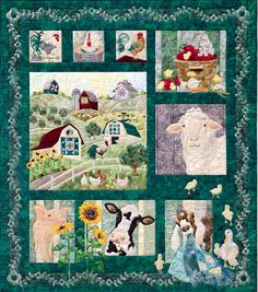 """Big Quilt/Small Quilt Another hit from McKenna Ryan, Pine Needles Designs, this fun farm themed quilt measures 66 1/2"""" x 75"""". Kit includes all the fabrics for the top, including the borders and binding. Patterns and Embellishments are sold separately. Backing and binding are not included."""