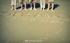 Family. Beach session. Last name in sand.