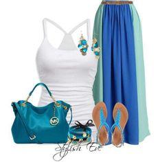 White tank, color block maxi skirt, bangles, MK handbag, #ReplicaLuxuryBag