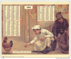 Calendario dei ricordi anno 1962
