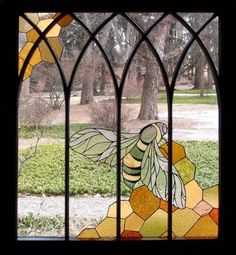 """desjarlaisdesigns: """" sosuperawesome: """" Stained Glass by Neile Cooper on Etsy Read more about Neile's woodland workplace, made from stained glass and salvaged windows, here So Super Awesome is also on. Faux Stained Glass, Leaded Glass, Mosaic Glass, Glass Cabin, Storybook Cottage, Glass Butterfly, Glass Panels, Painting, Furniture Projects"""