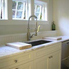 Beadboard Kitchen Walls, Cottage, kitchen, Molly Frey Design