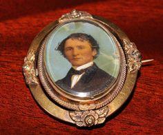 Antique Victorian Gold Memorial Hair Mourning Brooch Painting PORTRAIT Civil War  | eBay