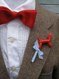 Balloon animal boutonniere is perfect for any occasion, especially for that circus theme wedding. Wedding Attire, Wedding Bride, Dream Wedding, Wedding Girl, Carnival Themes, Circus Theme, Circus Party, Balloon Dog, Balloon Animals