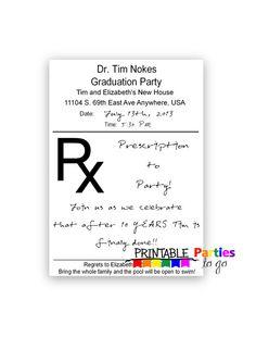 Prescription Pad Printable 5x7 Invitations