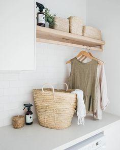 Home Decor / Minimal Interior Design Inspiration – Laundry Room İdeas 2020 Decor, Dream Laundry Room, Timber Shelves, Laundry Design, Room Inspiration, Interior, Laundry In Bathroom, Home Decor, House Interior
