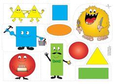 """Bjud """"formmonstret"""" på lunch. Vad sägs om en gul triangel? Eller ramsan om """"gubben fyrkant"""" m.m. Roliga flanobilder som öva färg och form med ramsor. Educational Activities, Anchor Charts, Pre School, Mathematics, Crafts For Kids, Clip Art, Shapes, Teaching, Projects"""