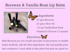 Tip - use organic ingredients. You can use coconut oil instead of olive oil & vanilla extract instead of paste. Organic Skin Care, Natural Skin Care, Lip Balm Ingredients, Vanilla Beans, Lip Balm Recipes, Diy Lip Balm, Bean Paste, Vitamin E Oil, Lotion Bars