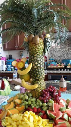 pineapple tree centerpiece fruit monkey pineapple parrot