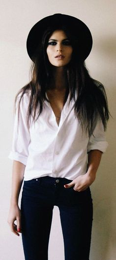 Today we have been captivated by this classic ensemble of crisp white shirt and indigo skinny jeans…upgrade with sassy Theodora hat and smokey eyes to create a totally dynamite look!  Love…Light…Liberty x  #LOTD #lookoftheday #classicSTYLE #wellaccessorised #theodoragirl #smokeyeyes  Image Credit: Pinterest/Bohemianblast