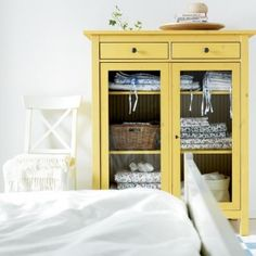 Painted Ikea Hemnes cabinet - another pretty yellow cabinet
