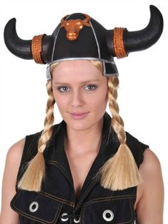 Heidi black Viking helmet with blonde plaits for Nordic lady Viking Queens. One size fits most.