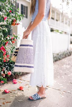 Gal Meets Glam Double Eyelet -J.Crew top, Tory Burch skirt, Isa Tapia sandals & Mar Y Sol bag