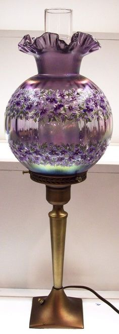 Antique Hurricane Lamps - Ideas on Foter Antique Hurricane Lamps, Antique Oil Lamps, Vintage Lamps, Fenton Lamps, Fenton Glassware, Victorian Lamps, Lampe Decoration, Fairy Lamp, I Love Lamp