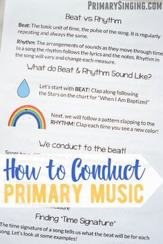 Ever wondered how to conduct Primary music? This easy guide plus printable Mini Conducting course is a fun way to teach your Primary kids (or Activity Day girls! A printable resource for LDS Primary Music Leaders / Choristers! Primary Songs, Primary Singing Time, Primary Activities, Lds Primary, Music Activities, Speech Therapy Activities, Play Therapy, Primary Lessons, Science Resources