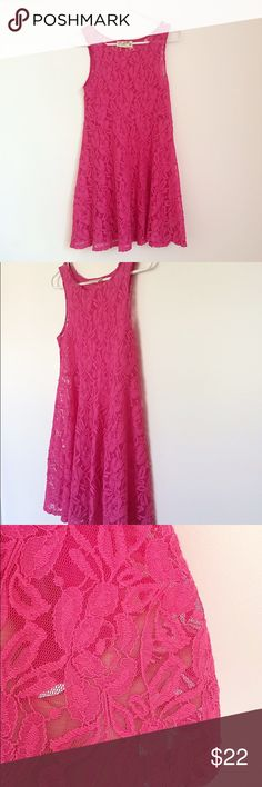 "Free People Lace Dress Free People ""Miles Of Lace"" Hot Pink Dress. Size XS. Would be loose on an XS. For a more fitted look would probably be a M. NOTE: This no longer has the matching slip to go underneath. A slip is needed as it will be see through without one. No flaws, just the lace isn't as soft as it used to be. Free People Dresses"