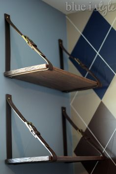 Blue i Style: {diy with style} Leather Belt Shelves: A High-Low Story
