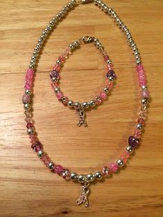 Necklace and bracelet set breast cancer #66