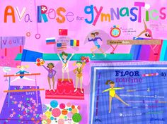 Oopsy Daisy - Flipping For Gymnastics Canvas Wall Mural Jill McDonald Jill Mcdonald, Gymnastics Party, Gymnastics Room, Gymnastics Stuff, Daisy, Childrens Wall Art, Baby Wall Art, Sports Art, Wall Murals