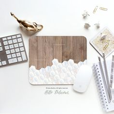 Mouse Pad Mousepad Faux Wood Marble Honeycomb by HelloDelicious
