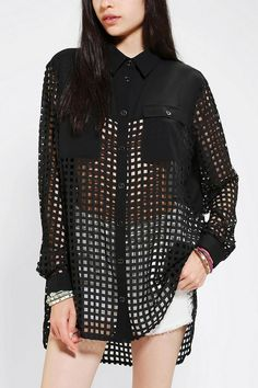 Evil Twin Laser-Cut Long-Sleeve Blouse #urbanoutfitters