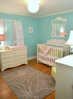So proud of our finished nursery for Baby Emerson!  See more at: http://projectnursery.com/projects/emersons-chic-aqua-green-pink-nursery/#