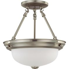 "2 Light 11"" Semi-Flush with Frosted White Glass"