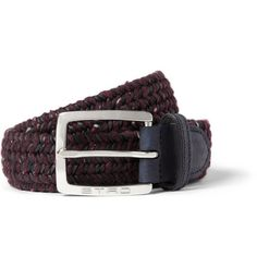 Etro 3.5cm Navy Woven Leather and Elasticated Fabric Belt   MR PORTER