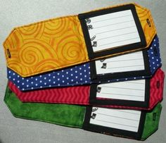 Luggage tag  that folds so you can't see the name/addy.   Tutorial here