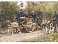 Machine gun dog carts. Belgian WW1.