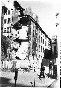 """""""Cladire avariata grav , intre magazinul Romanta si sala Comedia, vis-a-vis de cladirea Telefoanelor, pe Calea Victoriei. Bucuresti 7 martie 1977"""""""