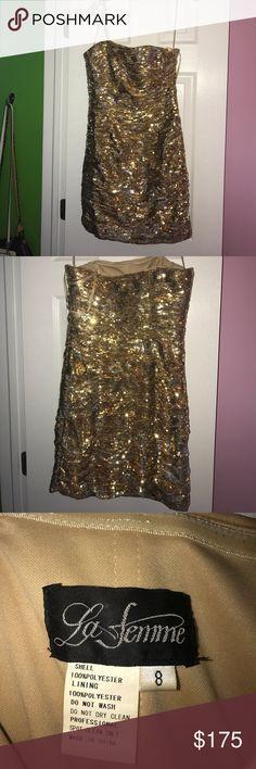 gold sequin dress strapless gold sequin dress size: 8 brand: La femme. only worn once La Femme Dresses Strapless