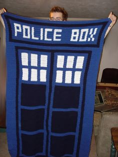A nice crochet blanket version of the tardis