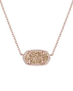 Elisa Pendant Necklace in Rose Gold Drusy - Kendra Scott Jewelry