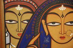 jamini roy paintings - Google Search Indian Artist, Art Painting, Jamini Roy, India Art, Madhubani Art, Fork Art, Painting, Art, Famous Art