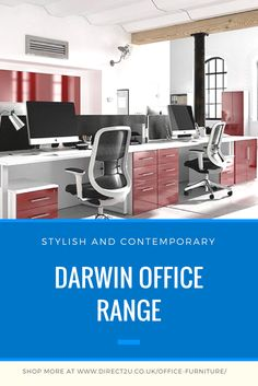 Darwin modern and contemporary office furniture range. Desks, storage and more. Choose from glossy, wood finishes