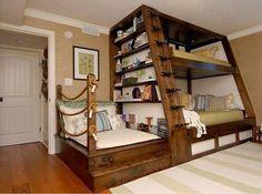"Que tal esse ""cantinho"" de leitura? Eu amo leitura Bunk Beds For Girls Room, Cool Bunk Beds, Adult Bunk Beds, Bunk Rooms, Unique Bunk Beds, Childrens Bunk Beds, Kid Beds, Girl Bedrooms, Wood Bunk Bed With Stairs"